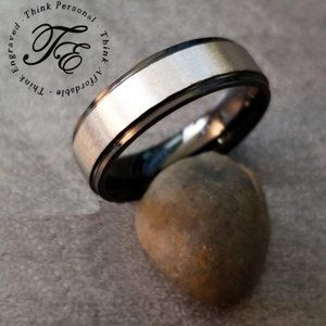 Brushed Steel Men's promise ring or Wedding Band